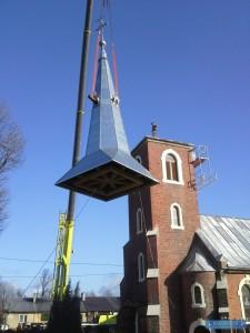 Montaż szczytu wieży kościelnej 02.2016